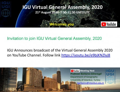 Invitation to join IGU Virtual General Assembly, 2020